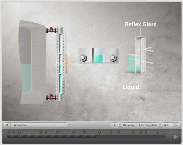 Illustration of a sight glass on an industrial tank